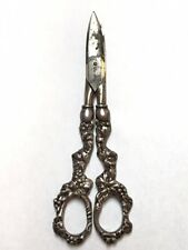 GRAPE MOTIF SOLID HANDLE GRAPE SHEARS SCISSORS STERLING  BY WHITING MFG. CO