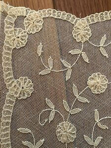 Fine Antique 1800's hand embroidered Belgian Lace Brussels Wedding handkerchief