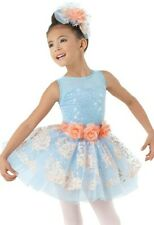 How to Believe Girls NWT Dance Costume by Weissman in Blue & Peach Multiple Size