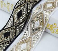 1Yard Ethnic Sequins Trim Embroidered Webbing Dress Ribbon Decor Lace DIY Sewing