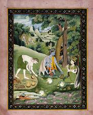 Pintura 19TH Century indio Rama estudioso sita comer cartel Art Print LLF0106