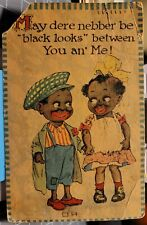 1916 Black Americana, Cute Young Girl & Boy Romance Love Vintage Postcard