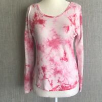 PINK ROSE Long Sleeve Tie Dye Scoop Neck Tee Shirt Womens XS Pink White