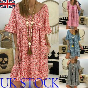 Womens Boho Loose Tunic Dress Ladies Summer Floral Beach Baggy Kaftan Mini Dress