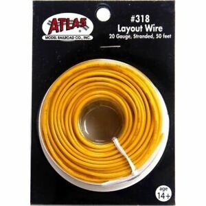 Atlas 318 50' of 20 Gauge Stranded Layout Wire, Yellow