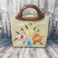Vintage Straw Bag Flower Embelloshed Wooden Handle EUC