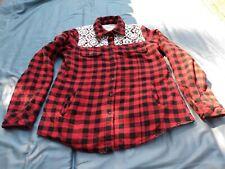 Cisa Woman Red Check Jacket Sz S Lace Trim