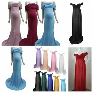 Pregnant Women Dresses Maternity Off-Shoulder Solid Color  Long Gown Costumes