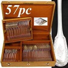 57pc Antique French PUIFORCAT Sterling Silver Flatware Set, 'Suffren', Oak Chest
