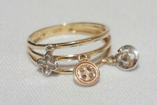 LAYAWAY OK! 18K TRICOLOR GOLD CHARMS RING - 2.7 GRAMS