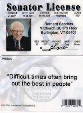 Vermont VT Senator Bernie Sanders fun id card Drivers License future President