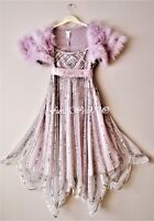 Bnwt Monsoon Girls Lilac Bead & Sequin Sparkly Party Dress & Feather Cape 12-13y