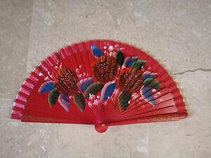 Spain Flamenco Handfächer Pocket Fan Folding Fan Wooden D Red