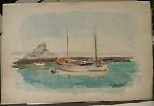 """Tableau Peinture Aquarelle PIERRE ABADIE LANDEL """"Douarnenez 1954 """"  PAL44"""