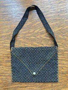 VINTAGE ANTIQUE BEADED PURSE: Small, Envelope Style, Black w/ Brown Geo. Design