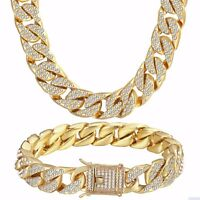 Curb Cuban Women Men Link Necklace Bracelet Chain Yellow Gold Filled Jewelry Set