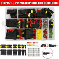 214Pcs 1-6 Pin Electrical Wire Connector Plug Set Waterproof Automotive Plug Kit