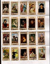 YEMEN 20T collés sur feuille: portrait de peintre cèlebres ,musées renommés C229