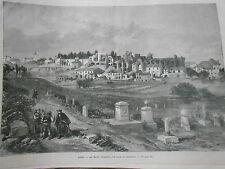 Gravure 1872 - Rome Le Mont Palatin vue de l'Aventin