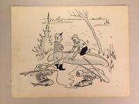 Original Gag Panel Comic Strip Cy Olson Cartoon SIGNED 1960s Fishing Humor 27