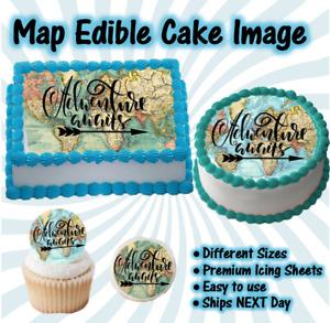 Graduation Edible Icing Image Adventure Awaits World Map Cake Topper