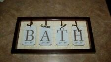 Vintage Style Shabby Rustic Framed Hanging Bath Sign Bathroom Door Farmhouse