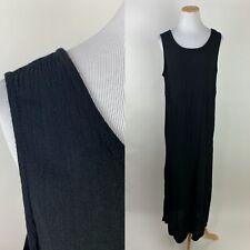 VTG 90s Crinkled Black Maxi Dress L Sleeveless Shift Minimalist Rayon Blend