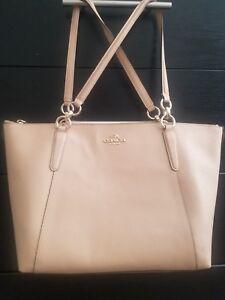 COACH F57526 Ava Tote Crossgrain Leather Handbag - Cream
