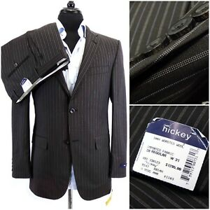 NWT $1295 Hickey Freeman Wool Two Button Suit 38 R Flat Front Striped Modern Fit