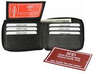 Black RFID Blocking Genuine Leather Men's Bifold Wallet Flap Top Zip Around