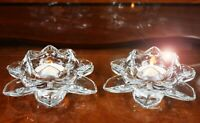 SET OF 2 CRYSTAL CUT LOTUS FLOWER ORNAMENT CLEAR COLOUR CHRISTMAS GIFT