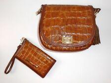 Brahmin Mini Sonny Embossed Leather Brown Handbag Wallet Crossbody New