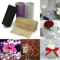 2/10 Yards DIAMOND DIAMANTE EFFECT MESH RIBBON TRIM CAKE BRIDAL CRAFT ROLL