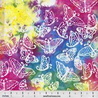 Laurel Burch Batik Menagerie SMALL BUTTERFLIES MULTI BRIGHT Fabric By FQ 1/4 YD