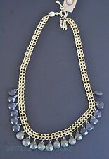 Fossil Necklace Vintage Revival Shaky Faceted Smoke Gray Beads Gold Tone Chain