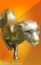 SPRINTING CHEETAH, PURE BRONZE STATUE ANIMAL FIGURE CAT HOT CAST SCULPTURE