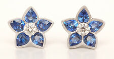 "3.66ct Sapphire and Diamond  ""Star"" Design Earrings in 18KW"
