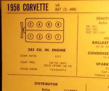 1958 Chevrolet Corvette 283 V8 4BBL & 2x4BBL SUN Tune Up Chart Great Condition!
