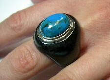 Carved Black Jade with Turquoise Sterling Silver Stone Ring, Bezel Set