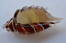 ART GLASS Cased Tiger Stripped Spiral Conch Shell