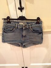 Top Shop Moto Denim Mini Short Taille Haute Taille W28