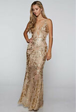 Sexy Gold Beaded Sequin Evening Gown Prom Dress NWT S Small USA Sold & Shipped