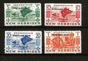 NEW HEBRIDES (Z134) 1953 POSTAGE DUES PART SET OF 4 TO 1 GOLD FRANC FINE MM / MH