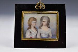 Georgian Miniature Portrait Painting Charlotte Princess Royal & Princess Augusta
