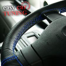 Per Peugeot 206 NERO PERFORATO Vera Vera Pelle Volante Copertura Blu