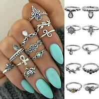 10pcs/Set Bohemian Woman Stacking Ring Above Knuckle Rings Mid Finger Rings Set