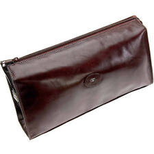 Hans Kniebes Mens Large Toiletry Leather Bag Genuine Buffalo Leather Luxury Wash