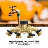 "4Way Water Distributor Brass Garden Hose 3/4"" Water Tap Adapter Valve Splitter"