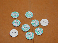 Round wooden blue 2 hole button set of 9 (11807)