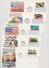 US FDC 1991 World War II 50th Anniversary 10 Stamps 10 Covers by Fleetwood |